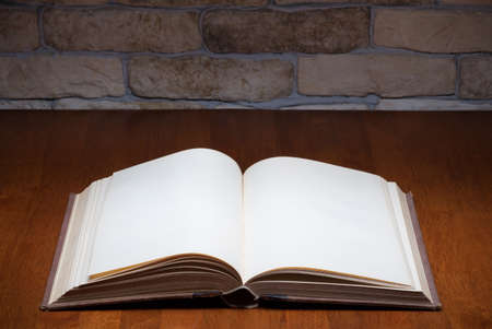 blank open book on wooden table photo