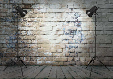 textured wall: photo studio in old room with brick wall  Stock Photo