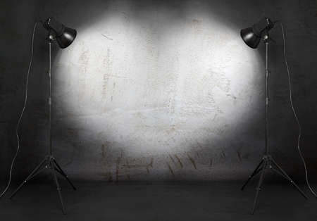 studio backdrop: photo studio in old grunge room with concrete wall, urban background  Stock Photo