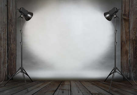 photo studio in old wooden room with concrete wall and paper background