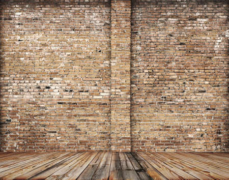 old room with brick wall, vintage background  photo