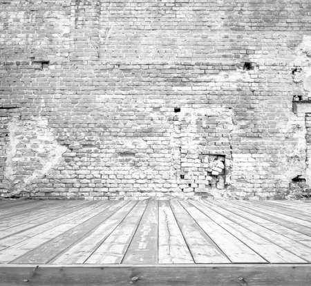 Antigua habitación gris con pared de ladrillo, fondo de la vendimia Foto de archivo - 31361930