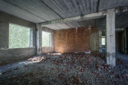 unfinished building: interior of an old abandoned unfinished building Stock Photo