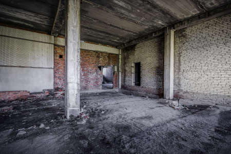 interior of an old abandoned unfinished building Stock Photo