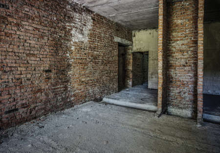 interior of an old abandoned unfinished building photo