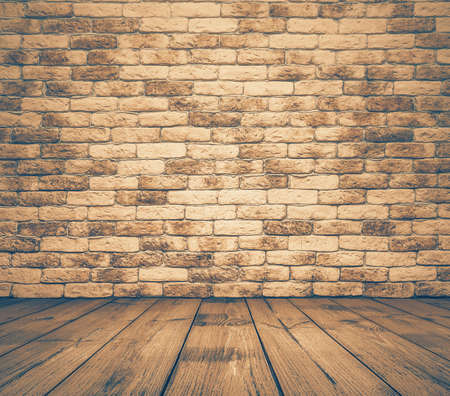 brick wall background: old room with brick wall, vintage background, retro filtered Stock Photo