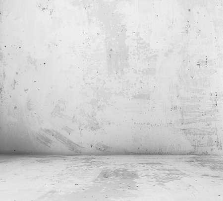 cemento: antigua sala vac�a con muro de hormig�n, fondo gris interior Foto de archivo