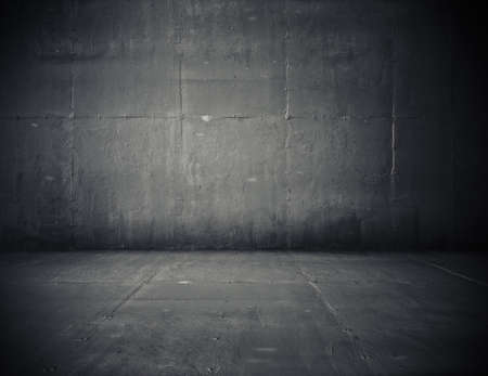 empty room with concrete wall, grey background Stock Photo