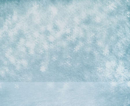 christmas room: frozen snow room, christmas background Stock Photo