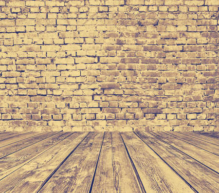 old room with brick wall, grey vintage background, retro filtered, instagram style photo