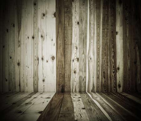 grunge interior: old grunge interior, wooden background Stock Photo