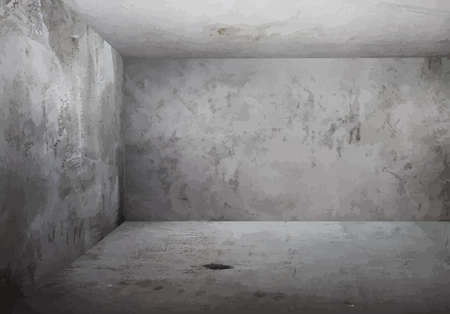 grunge room: corner of old grunge room, gray wals, vector
