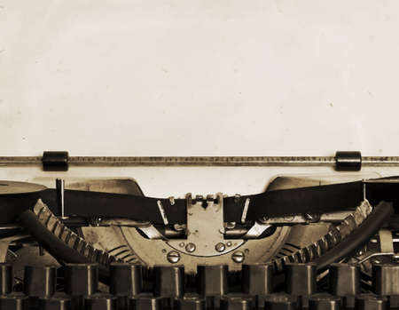 obsolete: obsolete typewriter with paper, vector