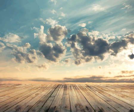 zonsondergang hemel en houten vloer, vector