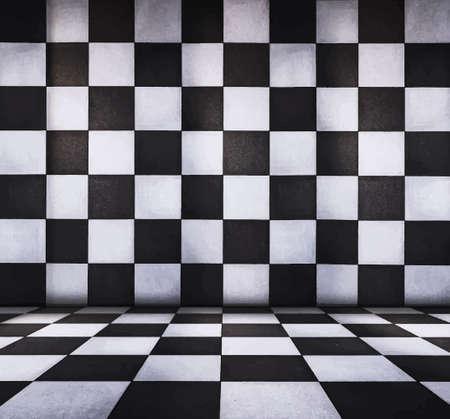 tiled: grungy tiled interior, vector