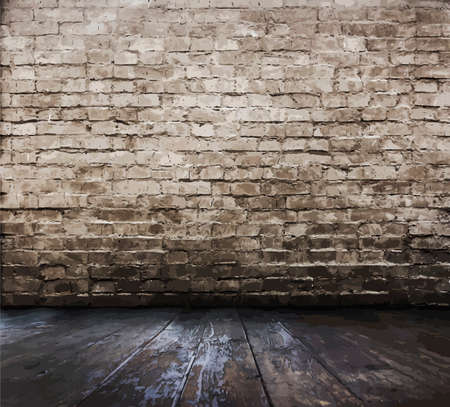 vintage timber: old room with brick wall, vector