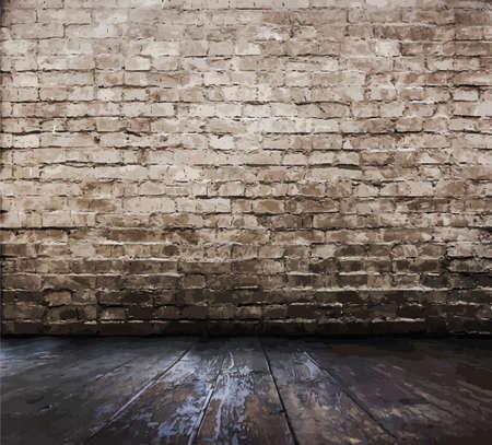 suelos: vieja sala con pared de ladrillo, vector