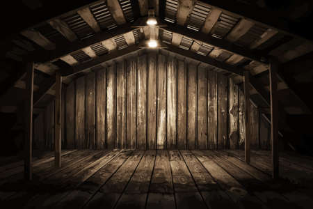 wood room: old wooden interior with light bulb, vector