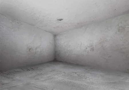abandoned building: corner of old grunge interior, vector Illustration