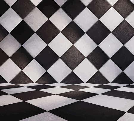 tiled: modern tiled room, vector Illustration