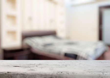 old desk: old wooden desk in the bedroom Stock Photo