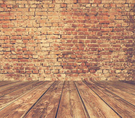 wood floor: old room with brick wall, vintage background, retro film filtered