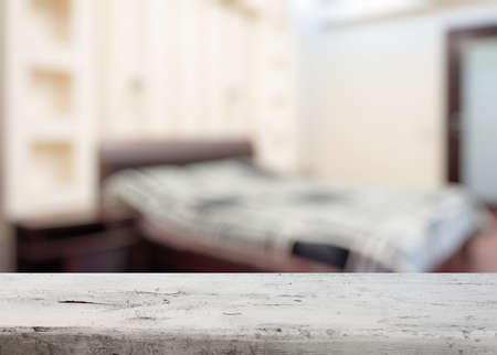 bedchamber: old wooden desk in the bedroom Stock Photo