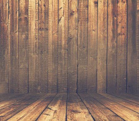 grunge interior: old grunge interior, wooden background, retro film filtered
