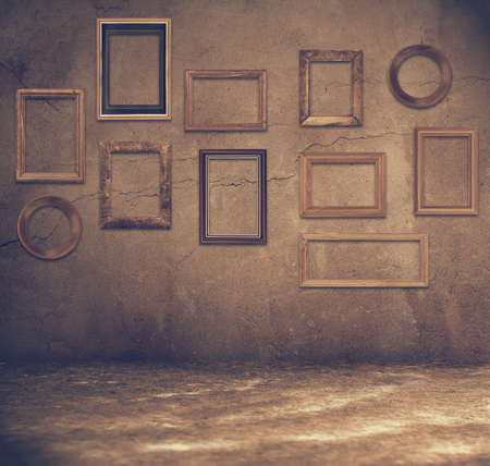 grunge room: old grunge room with wooden frames, retro filtered Stock Photo