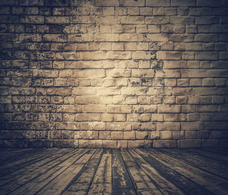 ancient brick wall: old room, retro filtered Stock Photo