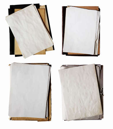 stack of papers: set of old folders with stack of papers isolated on white background with clipping path