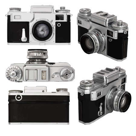 Alte Fotokamera-Set auf weißem Hintergrund mit Clipping-Pfad isoliert Standard-Bild - 51954669