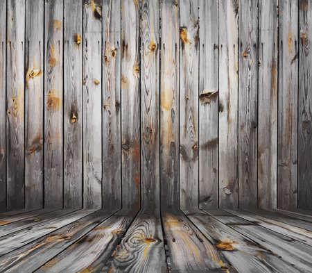 grunge interior: old grunge interior, wooden background Illustration