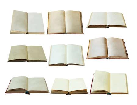 libros abiertos en blanco conjunto aislado sobre fondo blanco con trazado de recorte