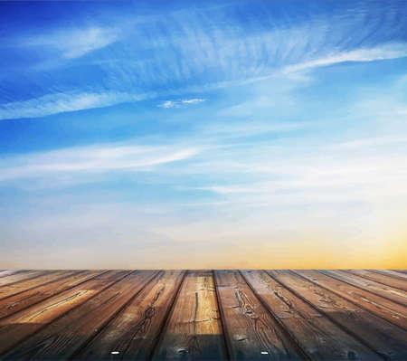 blauwe zonsondergang hemel en houten vloer, achtergrond Stock Illustratie
