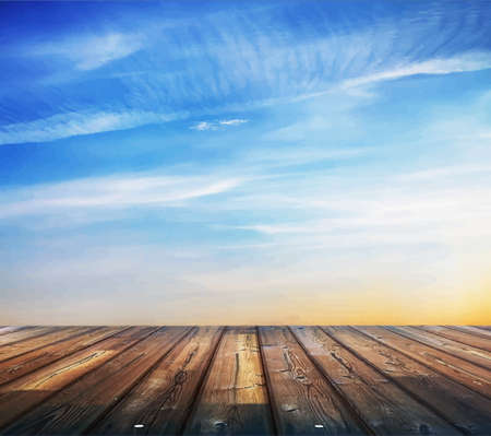 wood floor: blue sunset sky and wood floor, background Illustration