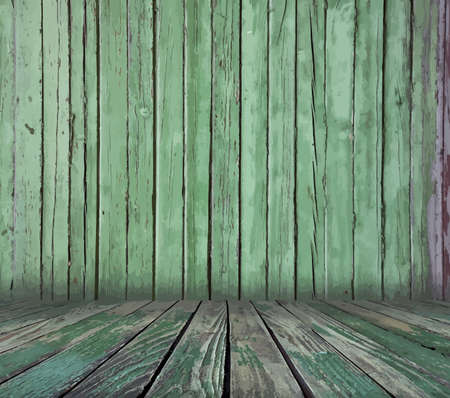 messy room: painted old wooden wall. green room