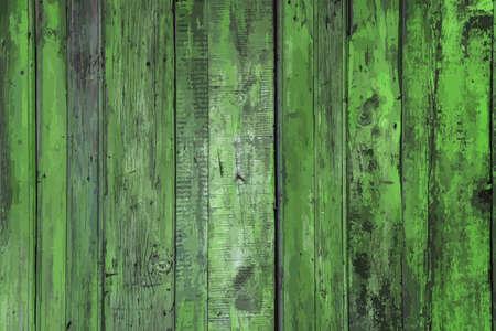 painted old wooden wall. green background Ilustração