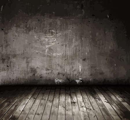 stary pokój z betonową ścianą