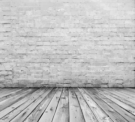 vieja sala con pared de ladrillo Ilustración de vector