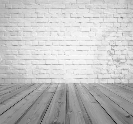 old gray room with brick wall, vintage background Illustration