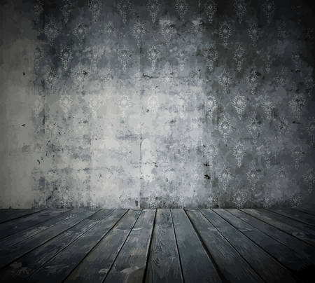 old grunge room, black and white retro background Ilustração