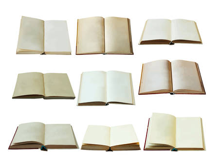 blank open books set