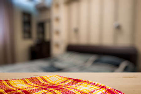 bedchamber: kitchen towel on old wooden desk in the bedroom