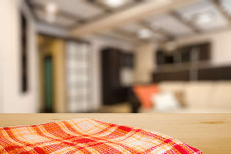 dishcloth: kitchen towel on table in the living room Stock Photo
