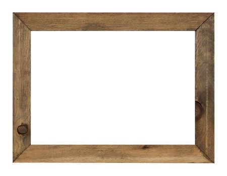 marco madera: marco de la foto aislado en el fondo blanco con trazado de recorte
