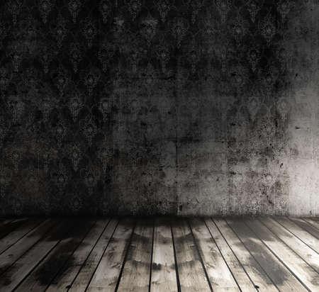 grunge room: old grunge room with wallpaper, vintage background Stock Photo