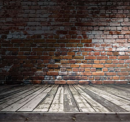 old room with brick wall, grungy background Stock Photo