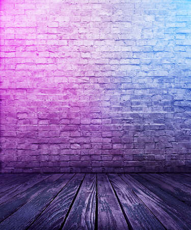 bricks interior background with neon lights