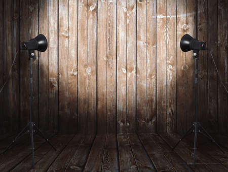 photo studio in old room with wooden wall Banco de Imagens - 106679899